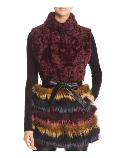 Maximilian - Purple Kalgan Lamb Fur & Fox Fur Vest - Lyst