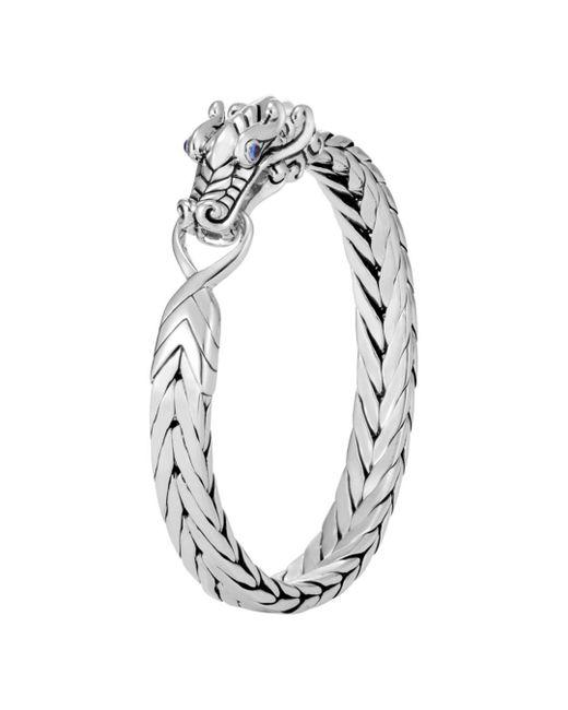 John Hardy - Metallic Sterling Silver Legends Naga Bracelet With Blue Sapphire Eyes for Men - Lyst