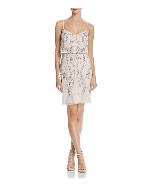 Adrianna Papell | White Embellished Blouson Dress | Lyst