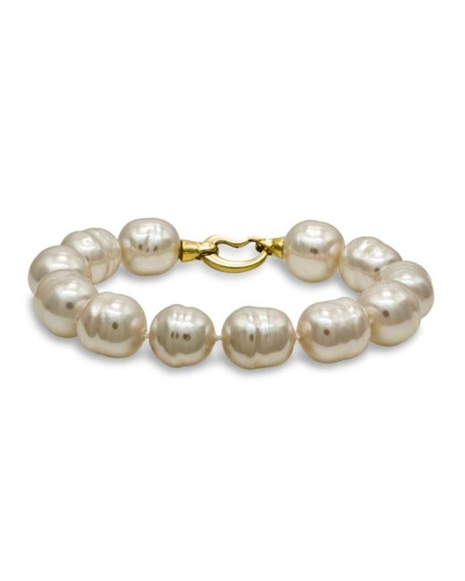 Majorica - White Simulated Baroque Pearl Bracelet - Lyst