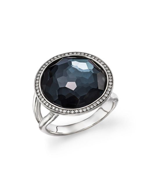 Ippolita - Metallic Stella Lollipop Ring In Hematite Doublet With Diamonds In Sterling Silver - Lyst