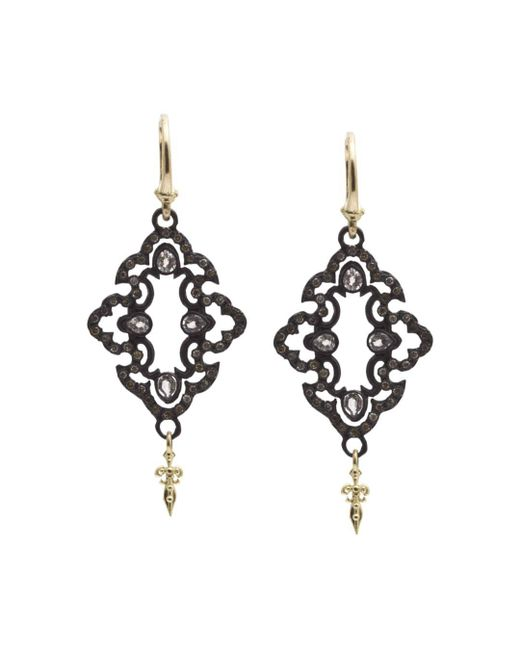 Armenta Metallic 18k Yellow Gold And Blackened Sterling Silver Old World Champagne Diamond And White Sapphire Scroll Drop Earrings