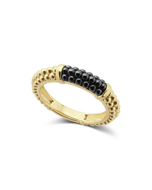 Lagos - Metallic Gold & Black Caviar Collection 18k Gold & Ceramic Ring - Lyst