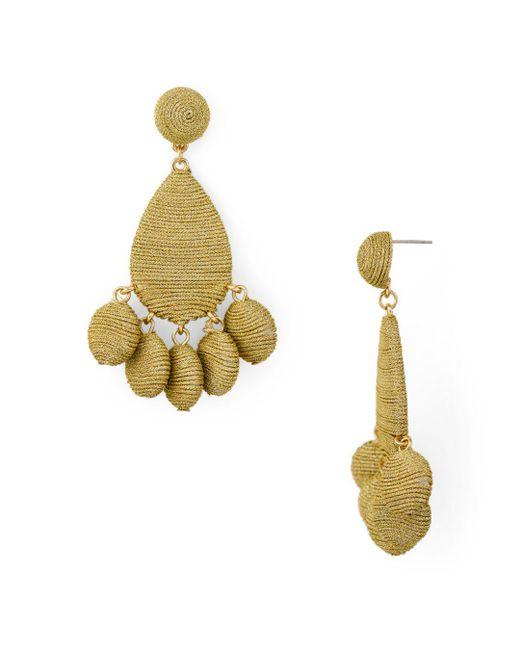 Aqua - Metallic Fabric Wrapped Drop Earrings - Lyst