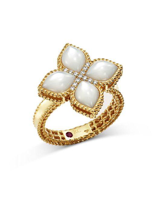 Roberto Coin - Metallic 18k Yellow Gold Venetian Princess Mother-of-pearl & Diamond Ring - Lyst