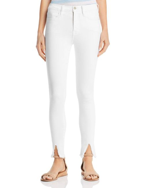 FRAME - White Le High Raw-edge Front Split Skinny Jeans In Blanc - Lyst