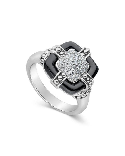 Lagos - Metallic Sterling Silver Black Caviar Diamond & Black Ceramic Square Ring - Lyst