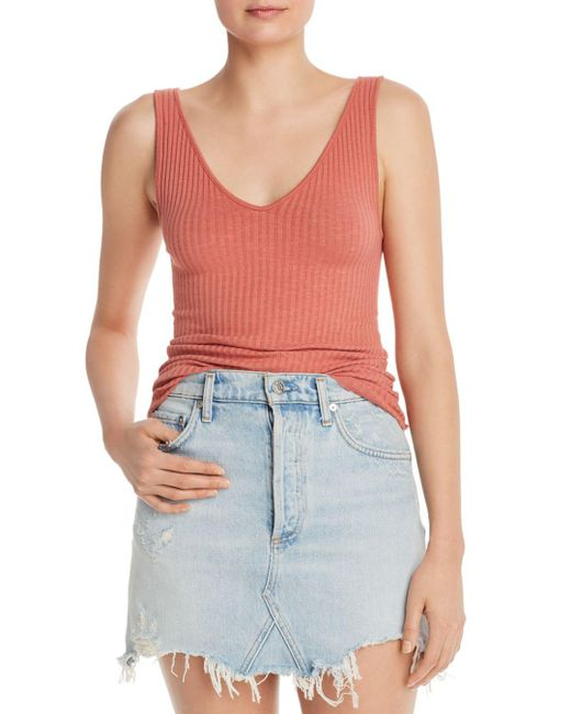 Enza Costa Pink Military Ribbed Tank