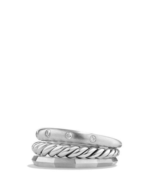 David Yurman - Metallic Stax Narrow Ring With Diamonds - Lyst