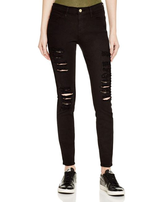 FRAME Green Le Color Ripped Jeans In Film Noir