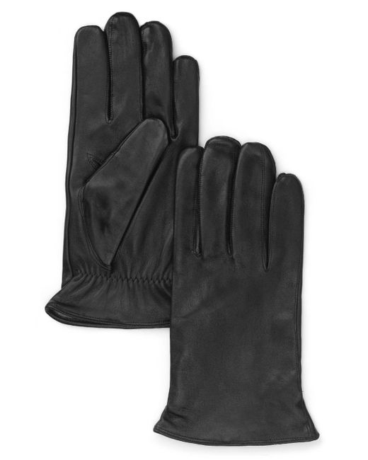 Bloomingdale's Black Cashmere Lined Leather Gloves for men