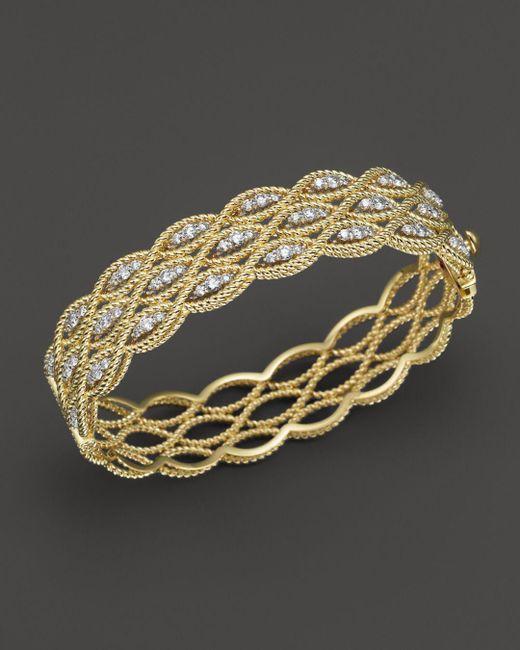 Roberto Coin Metallic 18k Yellow And White Gold New Barocco Diamond Bangle