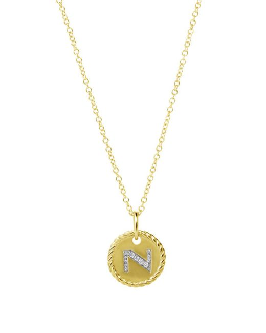 David Yurman Metallic Cable Collectibles Initial Pendant With Diamonds In Gold On Chain