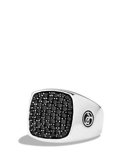 David Yurman Metallic Pavé Signet Ring With Black Diamonds for men