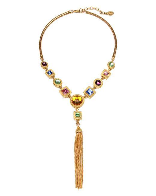 Ben-Amun - Metallic Multi Crystal Tassel Y Necklace - Lyst