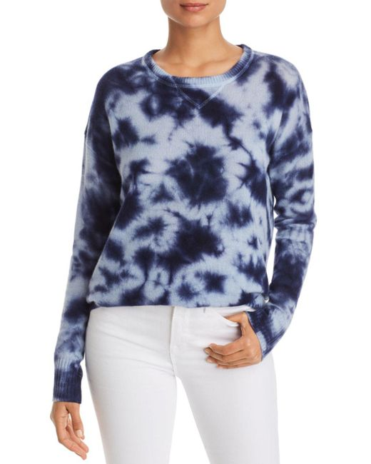 C By Bloomingdale's Blue Tie - Dye Drop - Shoulder Cashmere Sweater
