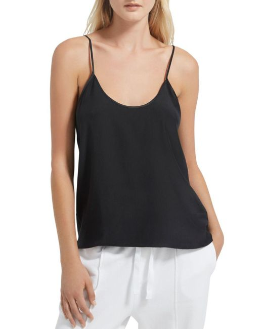 ATM Black Silk Charmeuse Camisole Top