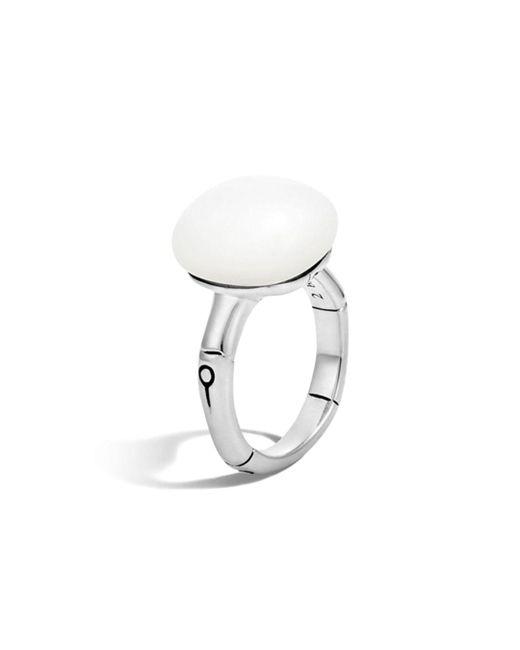 John Hardy - Metallic Batu Bamboo Silver Ring With White Moonstone - Lyst