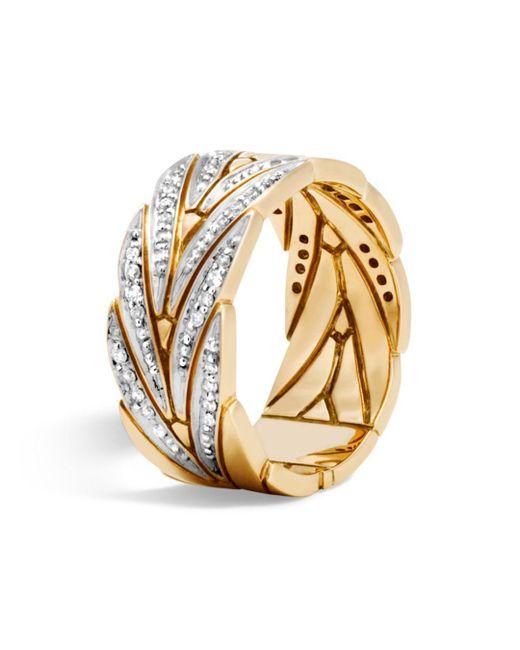 John Hardy - Metallic 18k Yellow Gold Modern Chain Band Ring With Diamonds - Lyst