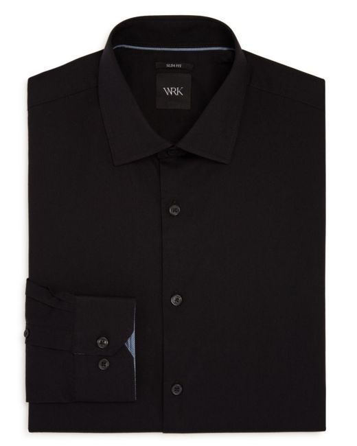 W.r.k. - Black Solid Stretch Slim Fit Dress Shirt for Men - Lyst