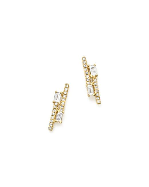 KC Designs - Metallic 14k Yellow Gold Diamond Mosaic Double Row Stud Earrings - Lyst