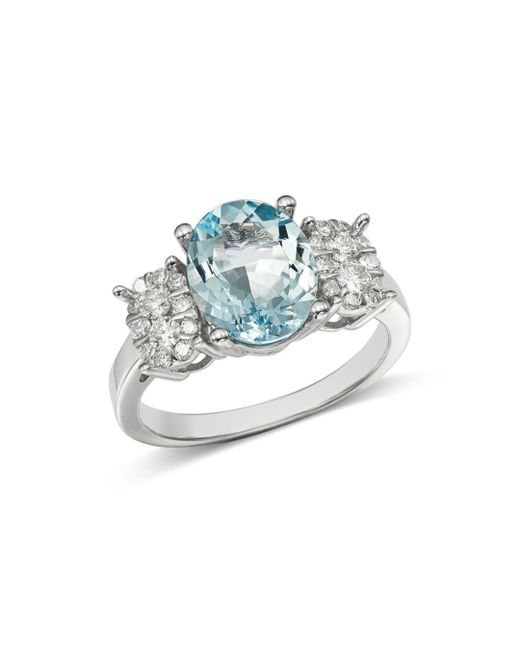 Bloomingdale's - Multicolor Aquamarine Oval & Diamond Cluster Ring In 14k White Gold - Lyst