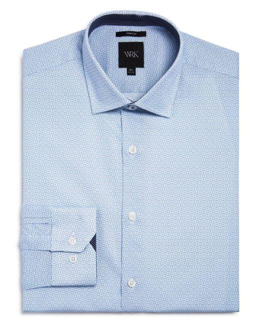 W.r.k. Blue Square Dot Slim Fit Dress Shirt for men