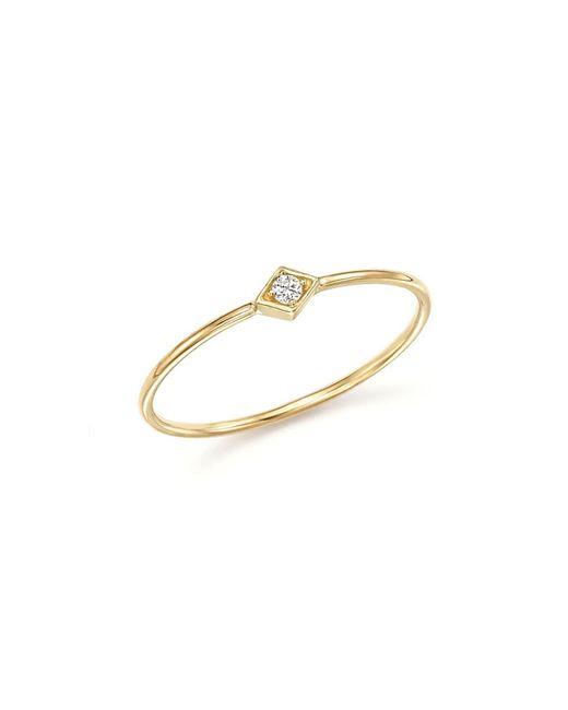 Zoe Chicco - Metallic 14k Yellow Gold And Diamond Bezel Thin Ring - Lyst