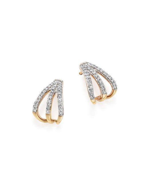 Adina Reyter Metallic 14k Yellow Gold Pavé Diamond Triple Huggie Hoop Earrings