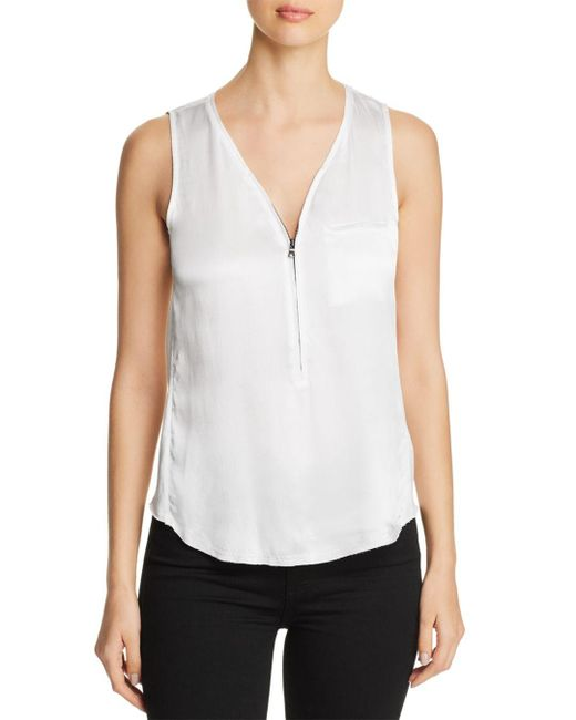 Go> By Go Silk White Mixed Media Zip Top