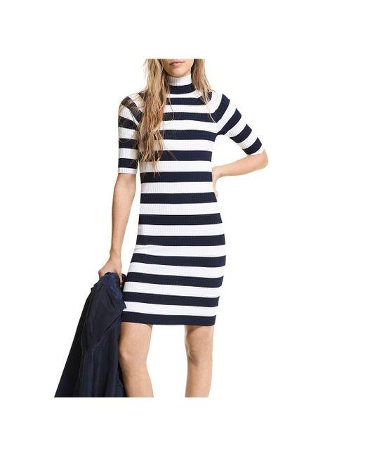 MICHAEL Michael Kors Blue Striped Knit Mock Turtleneck Dress
