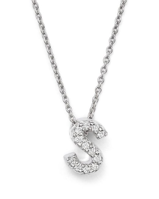 Roberto Coin Metallic 18k White Gold Initial Love Letter Pendant Necklace With Diamonds