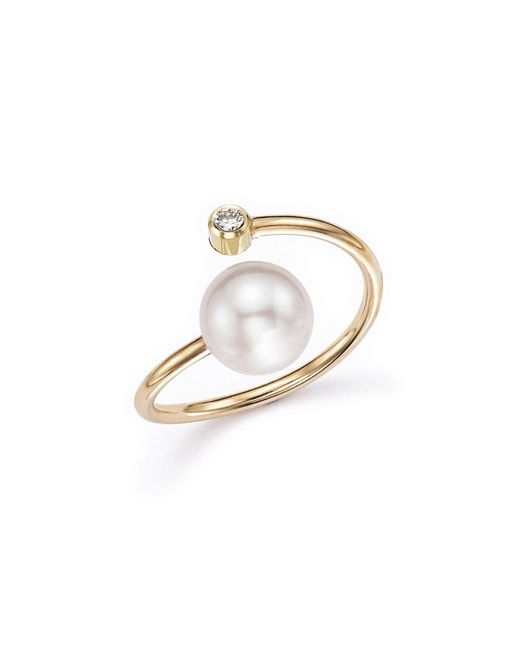 Zoe Chicco | Metallic 14k Yellow Gold Bypass Ring With Cultured Freshwater Pearls And Diamonds | Lyst