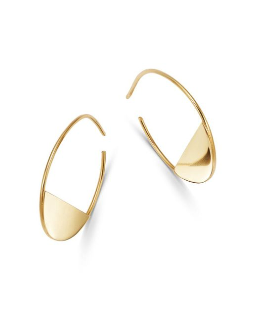 Moon & Meadow - Metallic 14k Yellow Gold Half Circle Hoop Earrings - Lyst
