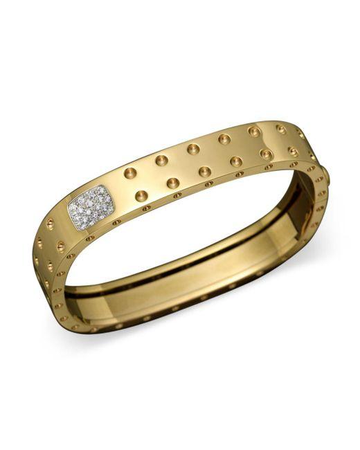 Roberto Coin - Metallic 18k Yellow Gold Pois Moi Double Row Diamond Bangle - Lyst
