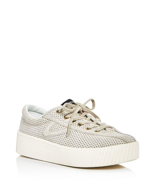 Tretorn | Natural Tretron Women's Nylite Bold Perforated Lace Up Platform Sneakers | Lyst