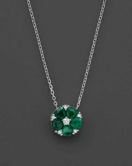 """Bloomingdale's - Green Emerald And Diamond Flower Pendant Necklace In 14k White Gold, 16"""" - Lyst"""