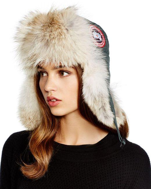 Canada Goose - Gray Coyote Fur Aviator Hat - Lyst