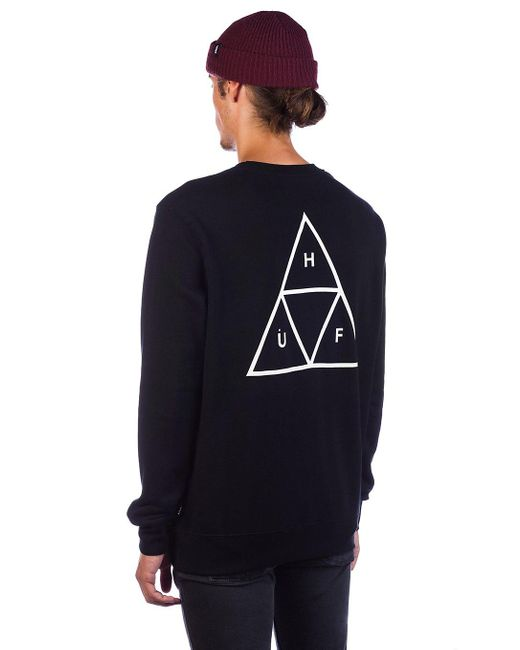 Essentials TT Crew Sweater negro Huf de hombre de color Black