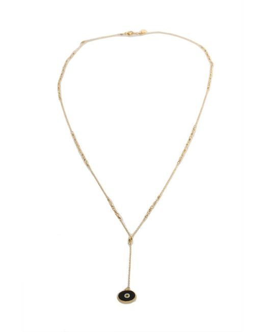 Chan Luu Metallic Plated Chain Necklace With Black Charm