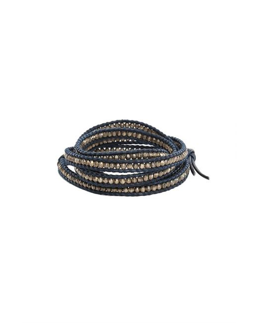 Chan Luu - Metallic Antique Silver Bead On Navy Leather - Lyst