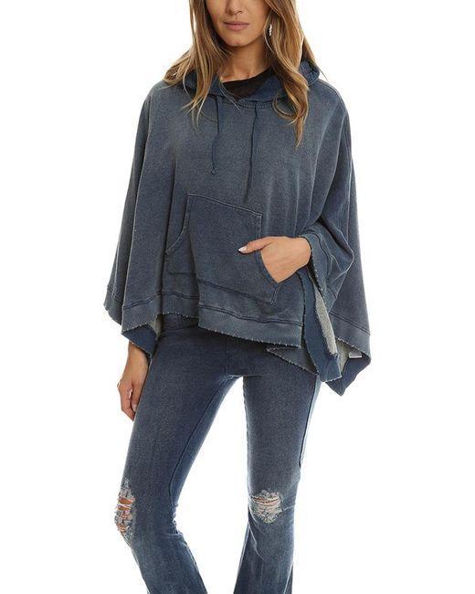 Pam & Gela | Blue Denim Track Hooded Poncho | Lyst