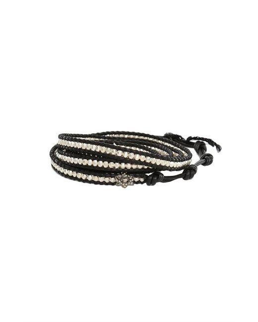 Chan Luu | Silver Bead On Black Leather Wrap Bracelet With Diamond Star Charm | Lyst