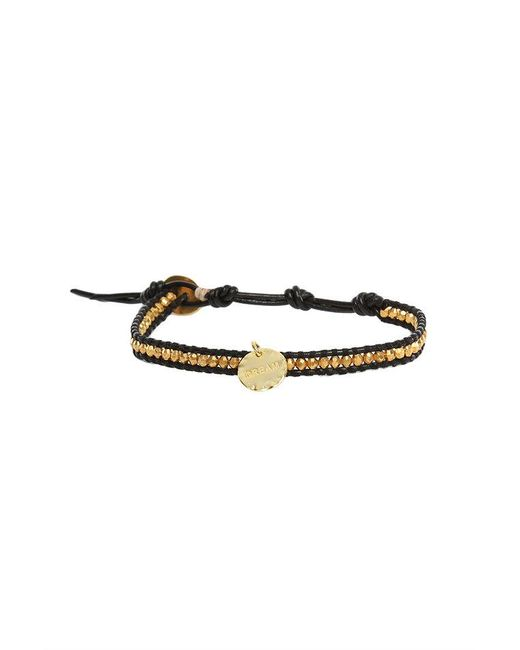 Chan Luu - Gold Beads On Black Leather Bracelet With Gold Dream Charm - Lyst