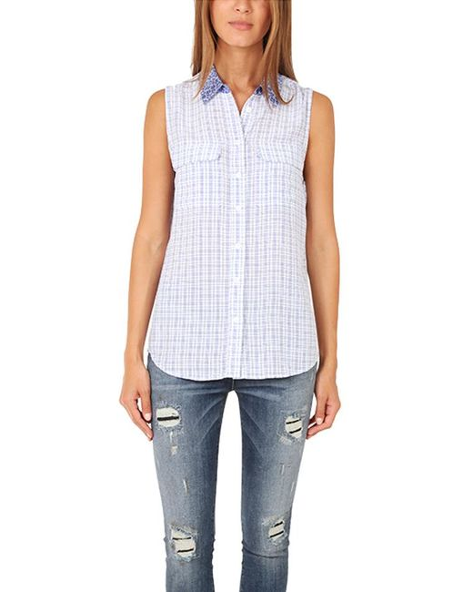 Equipment - Blue Sleeveless Slim Signature Contrast Blouse - Lyst
