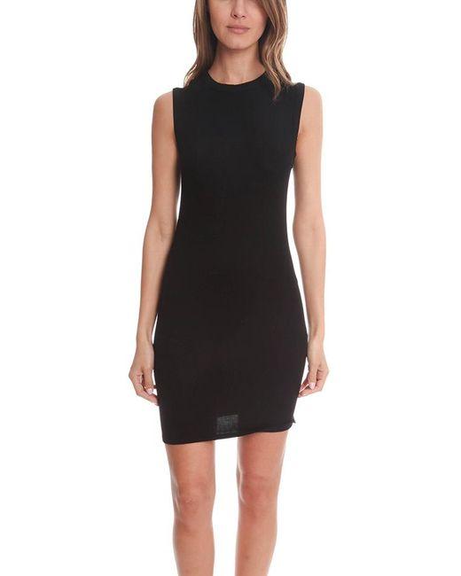Enza Costa Black Rib Sleeveless Mini Dress