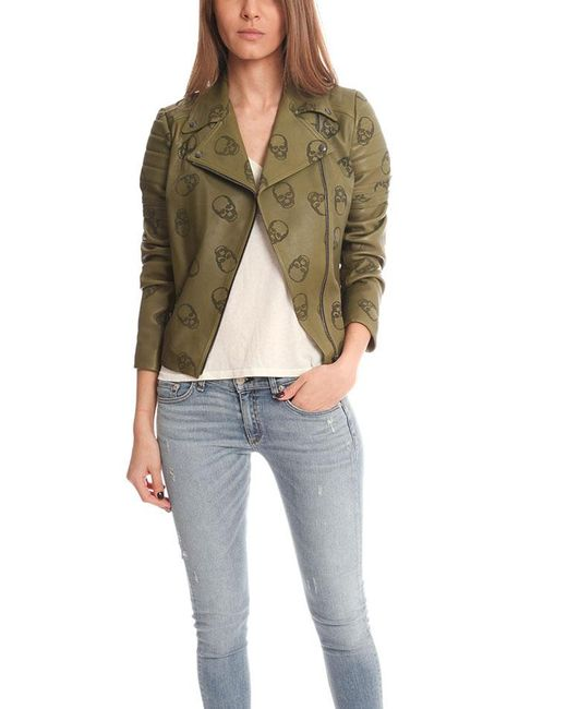 Lucien Pellat Finet - Green Perforated Skull Leather Jacket - Lyst