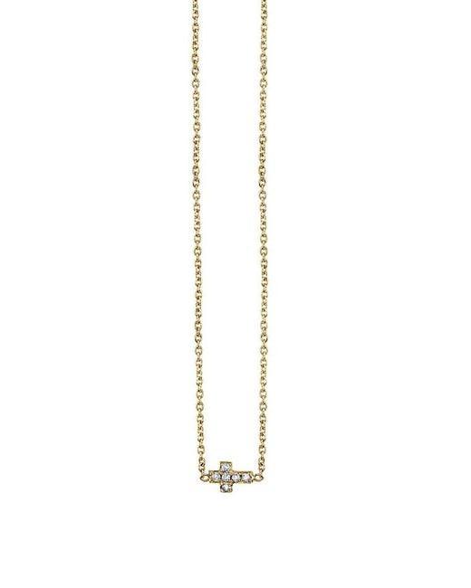 Sydney Evan | Metallic Tiny Pave Cross Necklace | Lyst