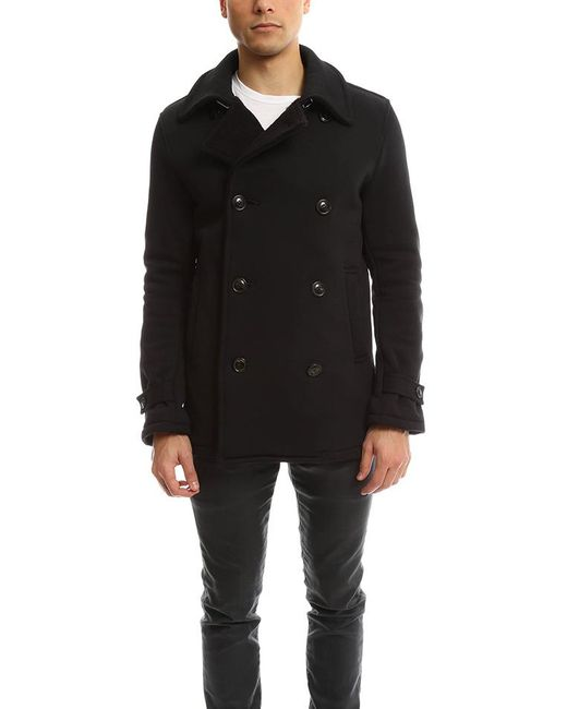 Biography Double Breasted Pea Coat Black for men