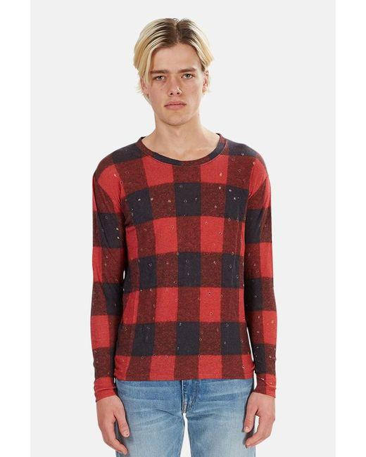 IRO Red Henleys Marvina Buffalo Check T-shirt for men